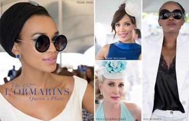 152nd L'Ormarins Queens Plate 2013,Pearl Thusi, Leigh-Anne Williams, Kuli Roberts, Peta Eggierth-Symes (by Denzil Jacobs)