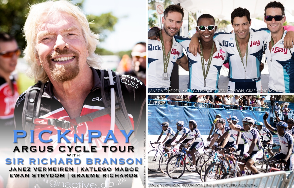 Pick n Pay Argus Cycle Tour 2013, Sir Richard Branson, Janez Vermeiren, Katlego Maboe, Ewan Strydom, Graeme Richards (by Denzil Jacobs)